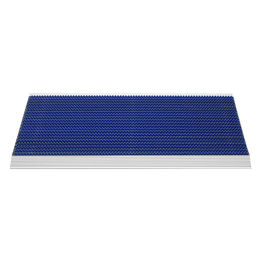 Modrá venkovní čistící kartáčová rohož Outline, FLOMA - délka 50 cm, šířka 80 cm a výška 2,2 cm