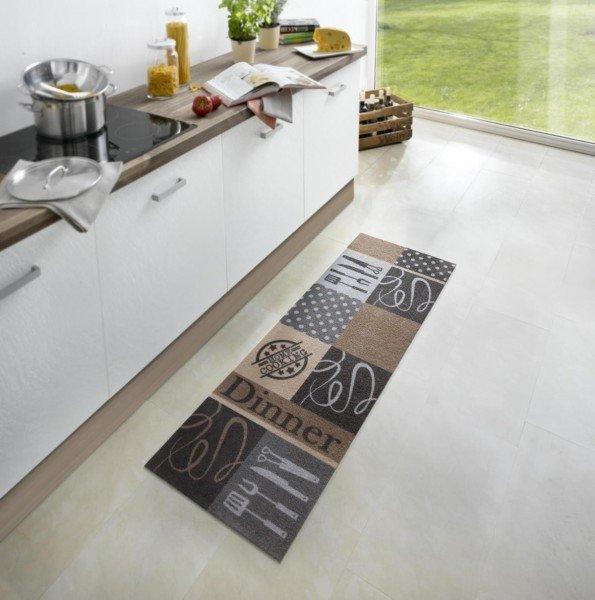 Hnědá kuchyňská kusová moderní předložka Cook & Clean - délka 150 cm a šířka 50 cm