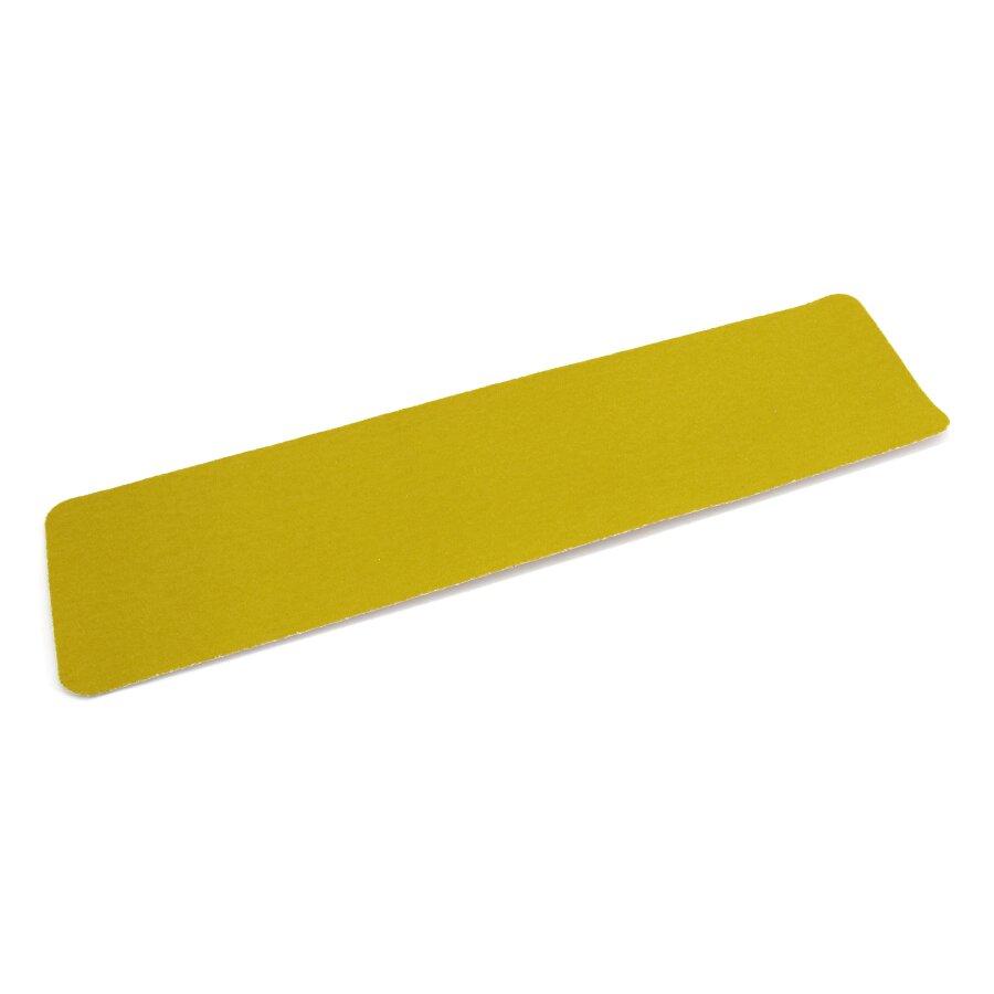 Žlutá korundová protiskluzová podlahová páska Super - délka 61 cm, šířka 15 cm a tloušťka 1 mm