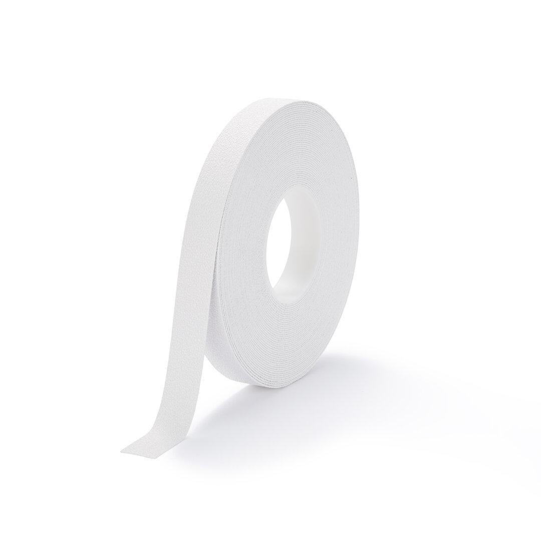Bílá plastová protiskluzová voděodolná podlahová páska FLOMA - délka 18,3 m, šířka 2,5 cm a tloušťka 1,3 mm