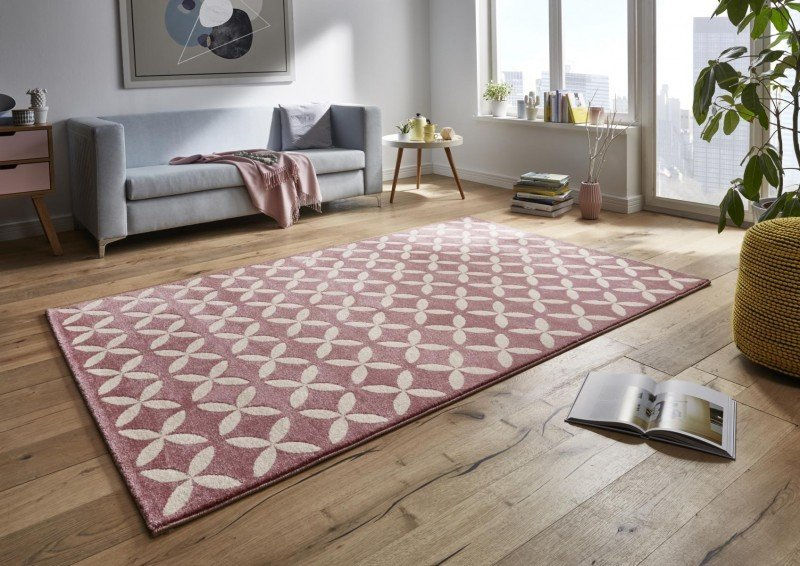 Růžový kusový moderní koberec Tifany