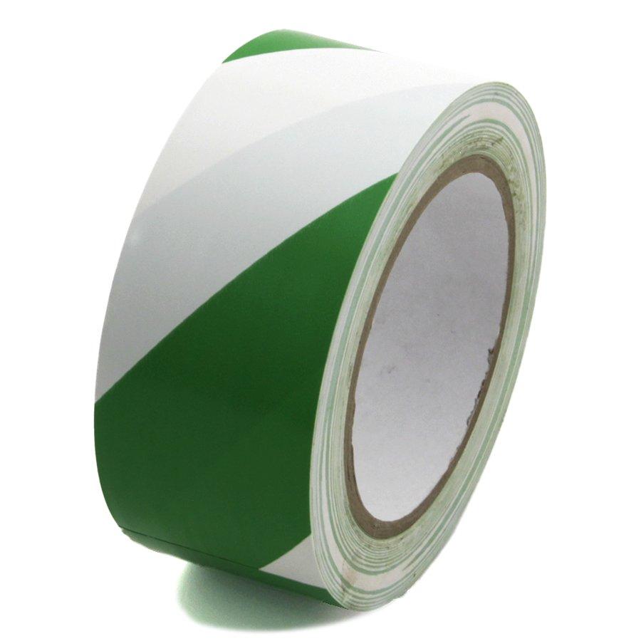 Bílo-zelená levá výstražná páska - délka 33 m a šířka 5 cm