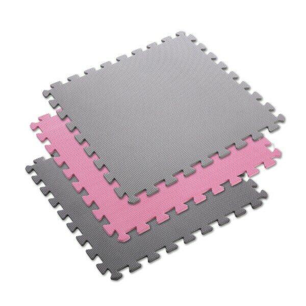 Růžovo-šedá pěnová modulová puzzle podložka (9x puzzle) ONE FITNESS - délka 180 cm, šířka 180 cm a výška 1 cm