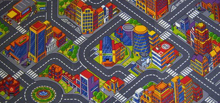 Různobarevný dětský kusový hrací koberec Město - délka 200 cm a šířka 140 cm