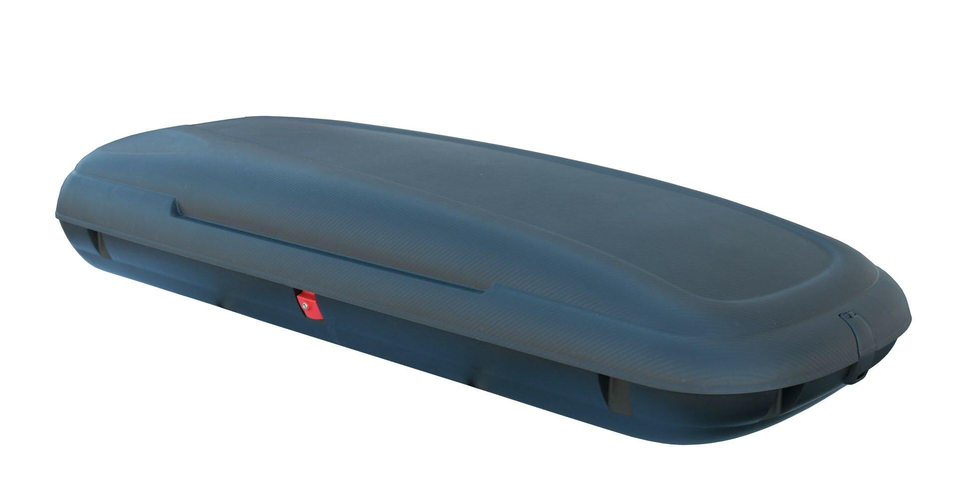Černý střešní box Linea Carbon - objem 480 l, délka 200,5 cm, šířka 79 cm a výška 38 cm