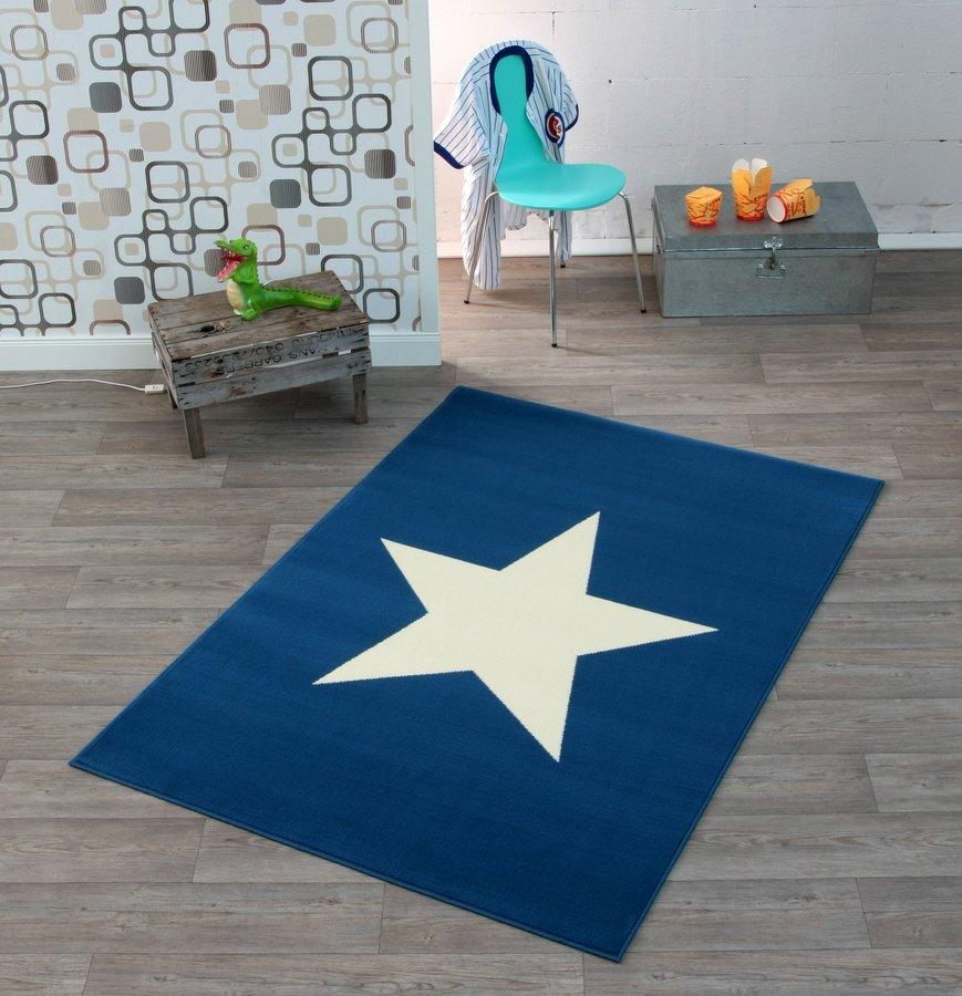 Bílo-modrý bytový moderní kusový obdélníkový koberec City Mix - délka 200 cm a šířka 140 cm