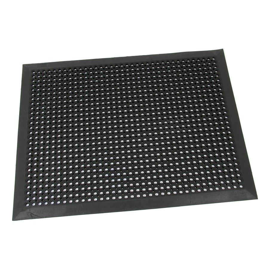 Černá gumová venkovní rohož s obvodovou hranou Octomat Mini - délka 70 cm, šířka 90 cm a výška 1,25 cm