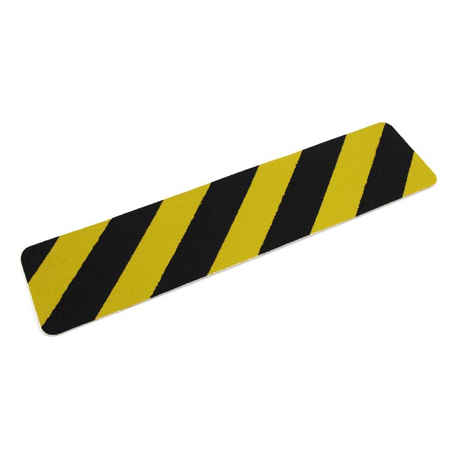 Černo-žlutá korundová protiskluzová podlahová páska Super - délka 61 cm, šířka 15 cm a tloušťka 1 mm