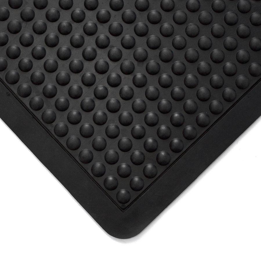 """Černá gumová modulární průmyslová protiúnavová rohož (25% nitrilová pryž) """"koncový díl"""" - délka 90 cm, šířka 60 cm a výška 1,4 cm"""