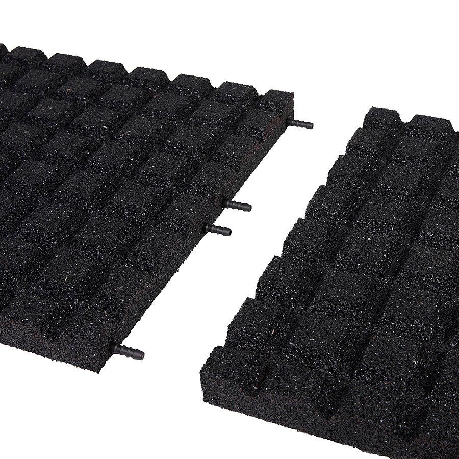 Černá gumová dopadová dlaždice (V40/R15) - délka 50 cm, šířka 50 cm a výška 4 cm