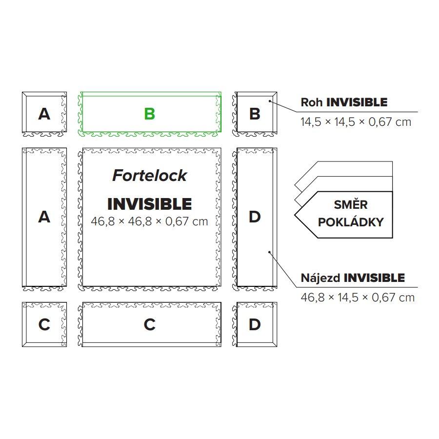 "Grafitový vinylový plastový nájezd ""typ B"" Invisible 2034 (hadí kůže), Fortelock - délka 46,8 cm, šířka 14,5 cm a výška 0,67 cm"