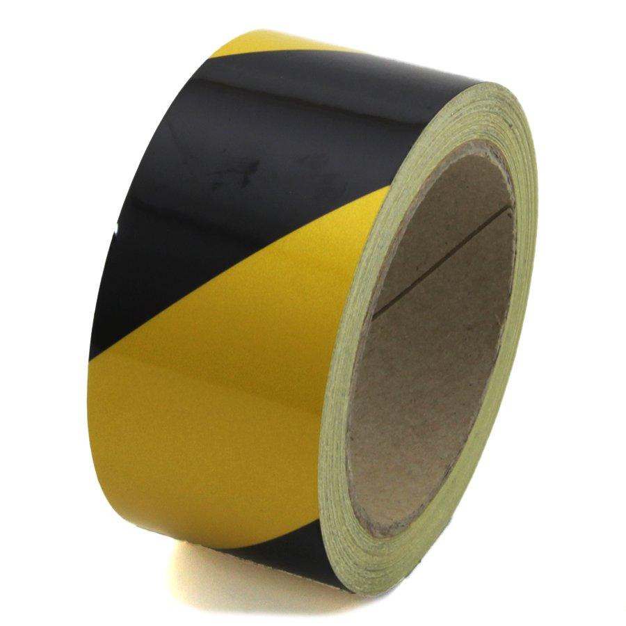 Černo-žlutá levá reflexní výstražná páska - délka 15 m a šířka 5 cm