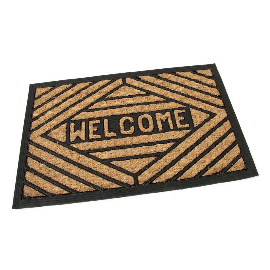 Kokosová čistící venkovní vstupní rohož Welcome - Rectangle, FLOMAT - délka 40 cm, šířka 60 cm a výška 0,8 cm