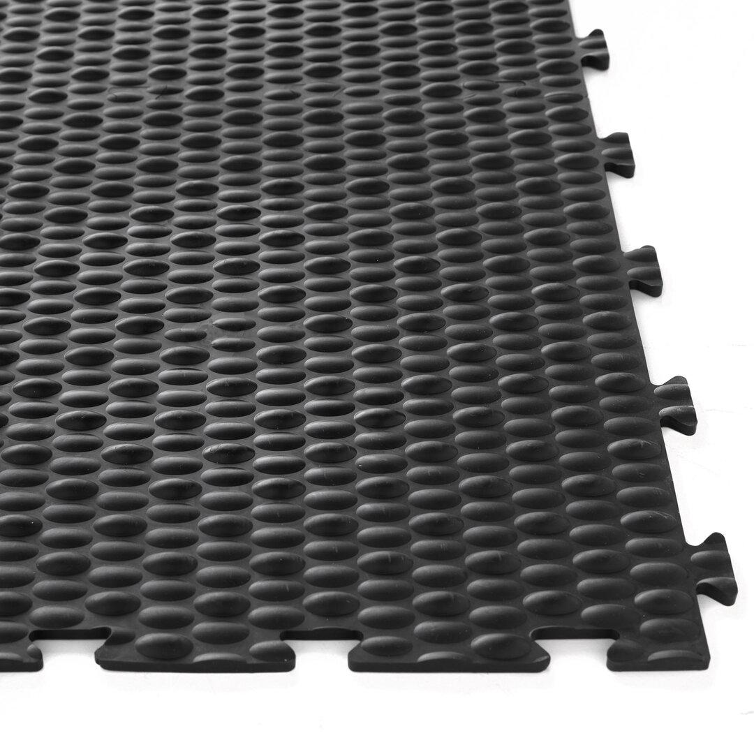Černá PVC vinylová zátěžová puzzle protiúnavová dlaždice Tenax - délka 50 cm, šířka 50 cm a výška 0,8 cm