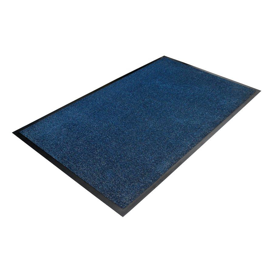 Modrá textilní vstupní vnitřní čistící rohož - délka 90 cm, šířka 150 cm a výška 0,7 cm