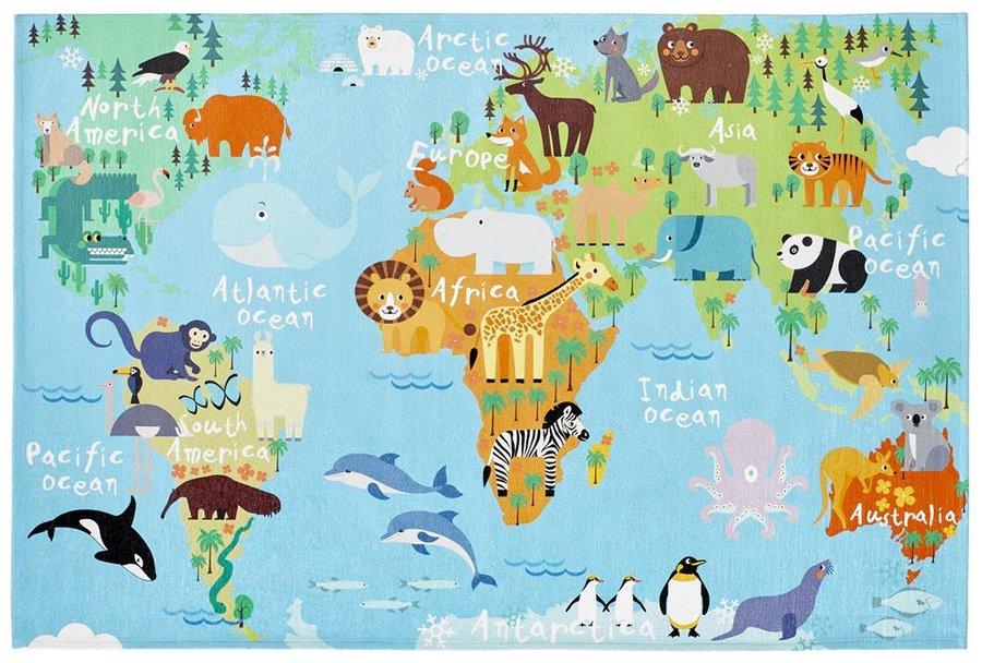 Modrý dětský kusový koberec Torino Kids - délka 170 cm a šířka 120 cm