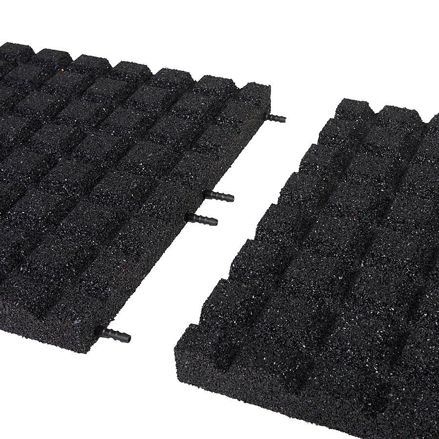 Černá gumová dopadová dlaždice (V50/R15) FLOMA - délka 50 cm, šířka 50 cm a výška 5 cm