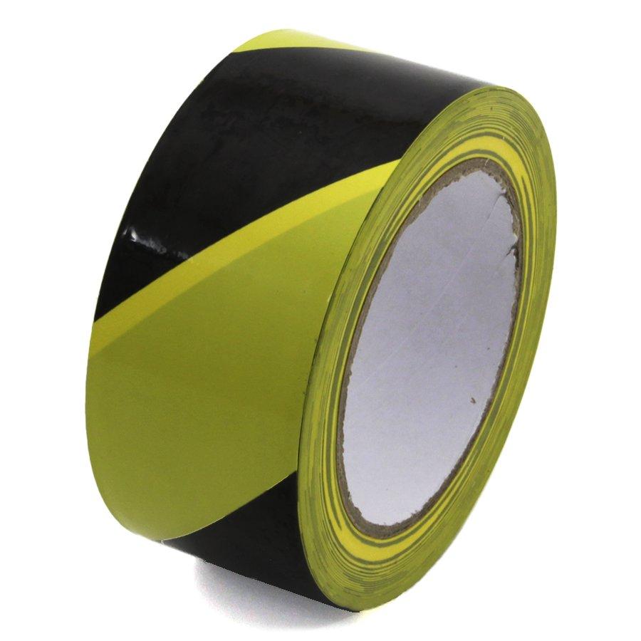 Černo-žlutá levá výstražná páska - délka 33 m a šířka 5 cm