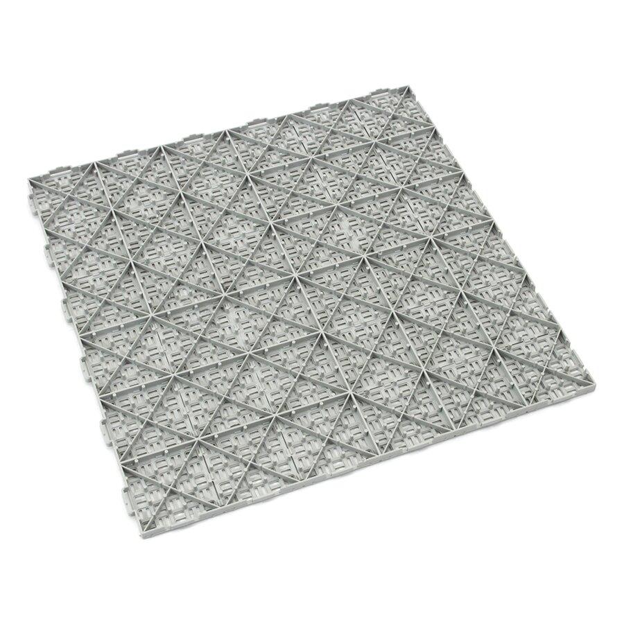 Šedá plastová děrovaná terasová dlažba Linea Marte - délka 56,3 cm, šířka 56,3 cm a výška 1,3 cm
