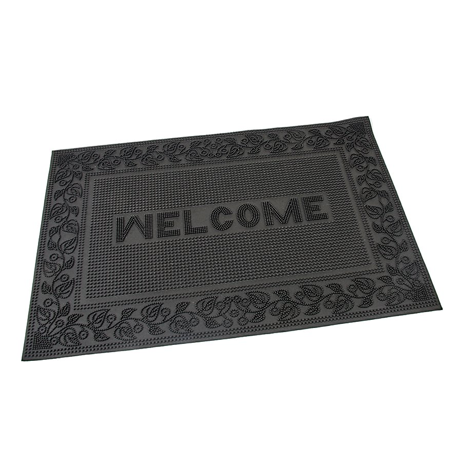 Gumová vstupní venkovní čistící rohož FLOMA Welcome - Leaves - délka 40 cm, šířka 60 cm a výška 0,6 cm