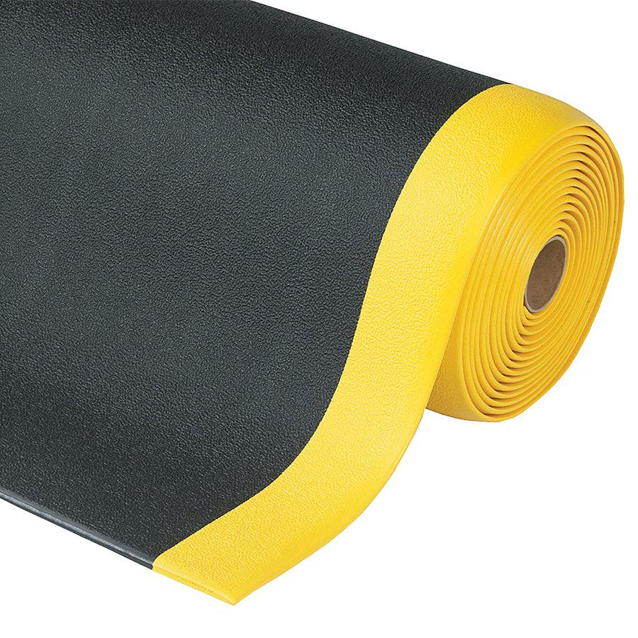 Černo-žlutá metrážová protiúnavová průmyslová rohož Sof-Tred, Plus - délka 1 cm a výška 0,94 cm