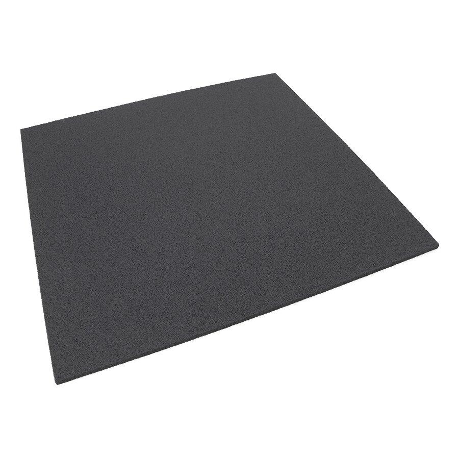 Černá gumová hladká dlažba (deska) FLOMA - délka 100 cm, šířka 100 cm a výška 1,1 cm