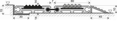 Textilní gumová hliníková vstupní rohož FLOMA Wella - délka 1 cm, šířka 1 cm a výška 1,4 cm