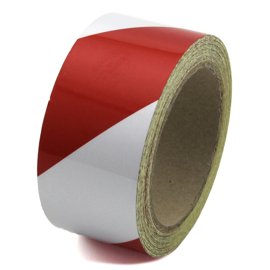 Bílo-červená levá reflexní výstražná páska - délka 15 m a šířka 5 cm