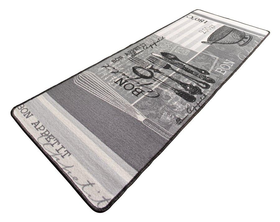 Šedý kuchyňský kusový moderní koberec Loop - délka 180 cm a šířka 67 cm