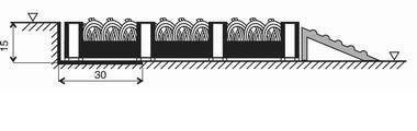 Šedá plastová vstupní vnitřní čistící rohož FLOMA - délka 20,5 cm, šířka 20,5 cm a výška 1,6 cm