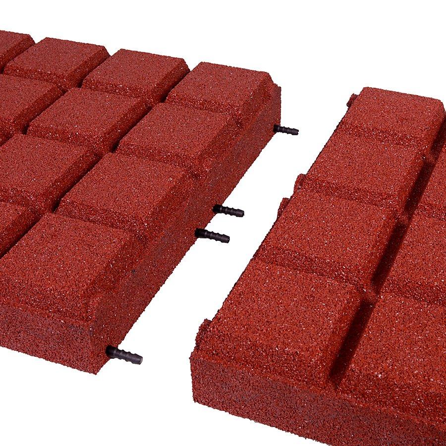 Červená gumová dlaždice (V90/R25BIG) - délka 50 cm, šířka 50 cm a výška 9 cm