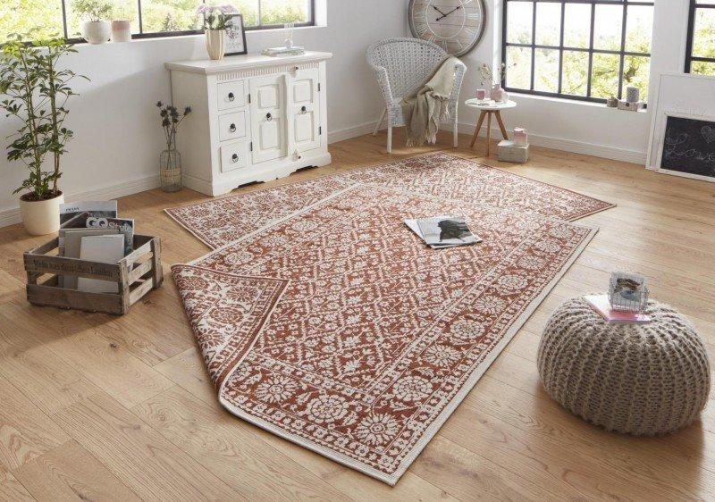 Hnědý oboustranný moderní koberec Twin-Wendeteppiche - šířka 80 cm