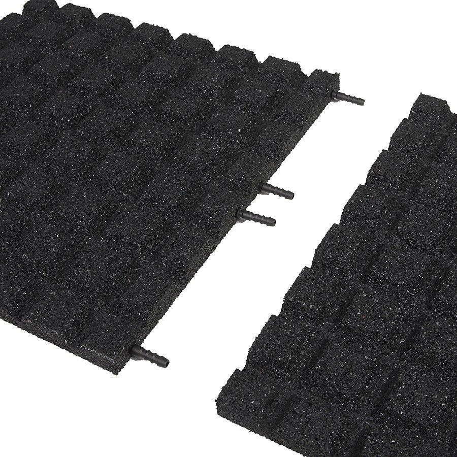 Černá gumová dlaždice (V30/R15) - délka 50 cm, šířka 50 cm a výška 3 cm