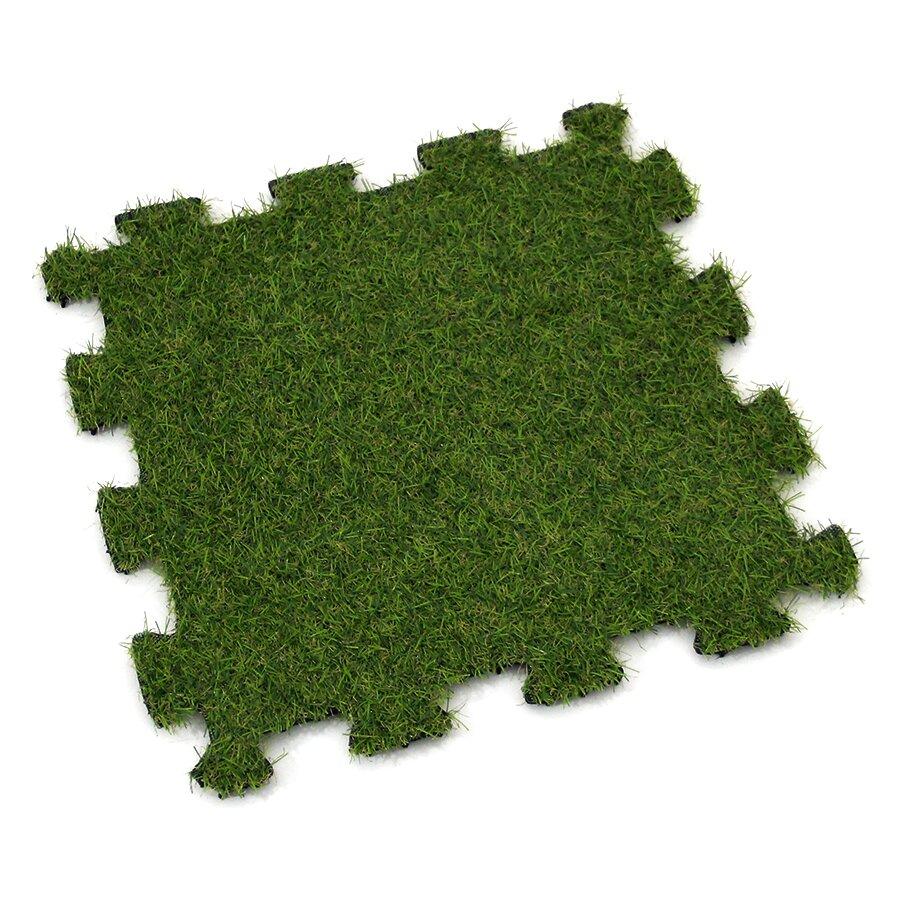 Zelená gumová puzzle terasová dlažba s umělým trávníkem FLOMA Comfort Tile - délka 40 cm, šířka 40 cm a výška 2,5 cm