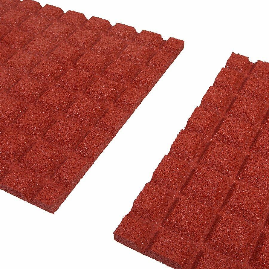Červená gumová dopadová dlaždice (V30/R15) FLOMA - délka 50 cm, šířka 50 cm a výška 3 cm