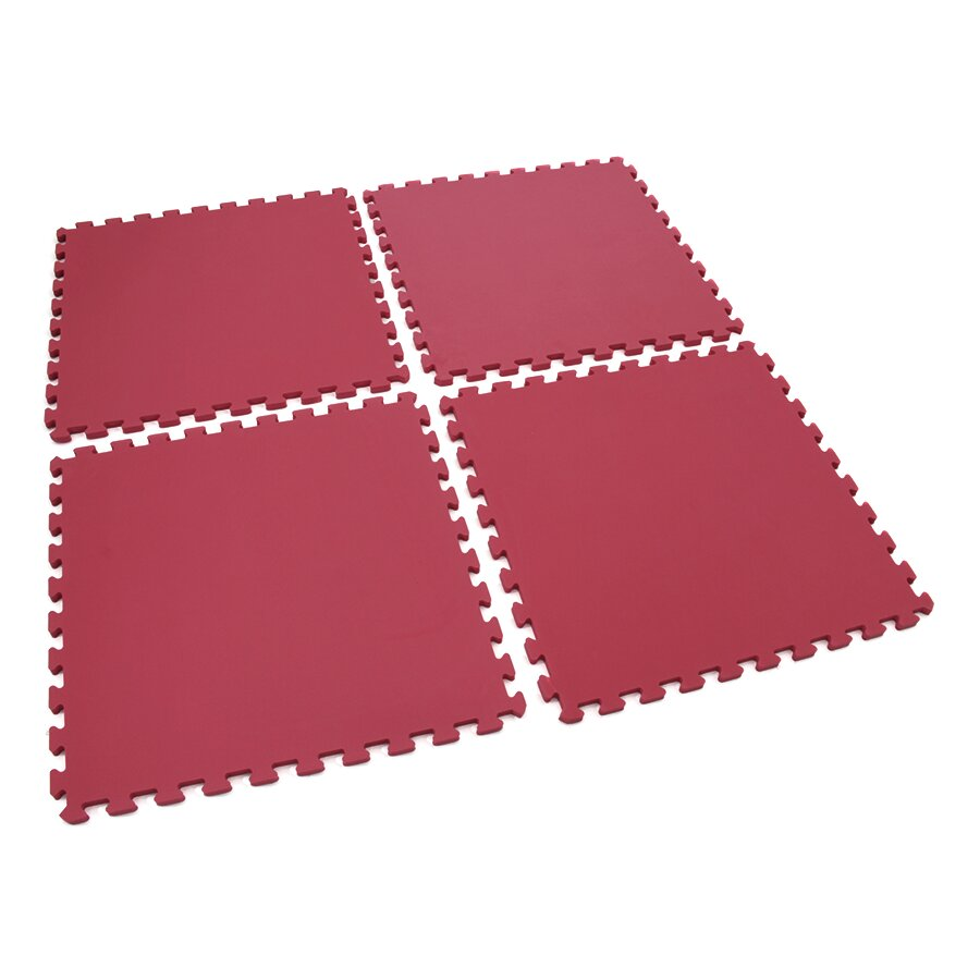 Červená dětská pěnová hrací modulová podložka (4x puzzle) SPARTAN SPORT - délka 122 cm, šířka 122 cm a výška 1,4 cm