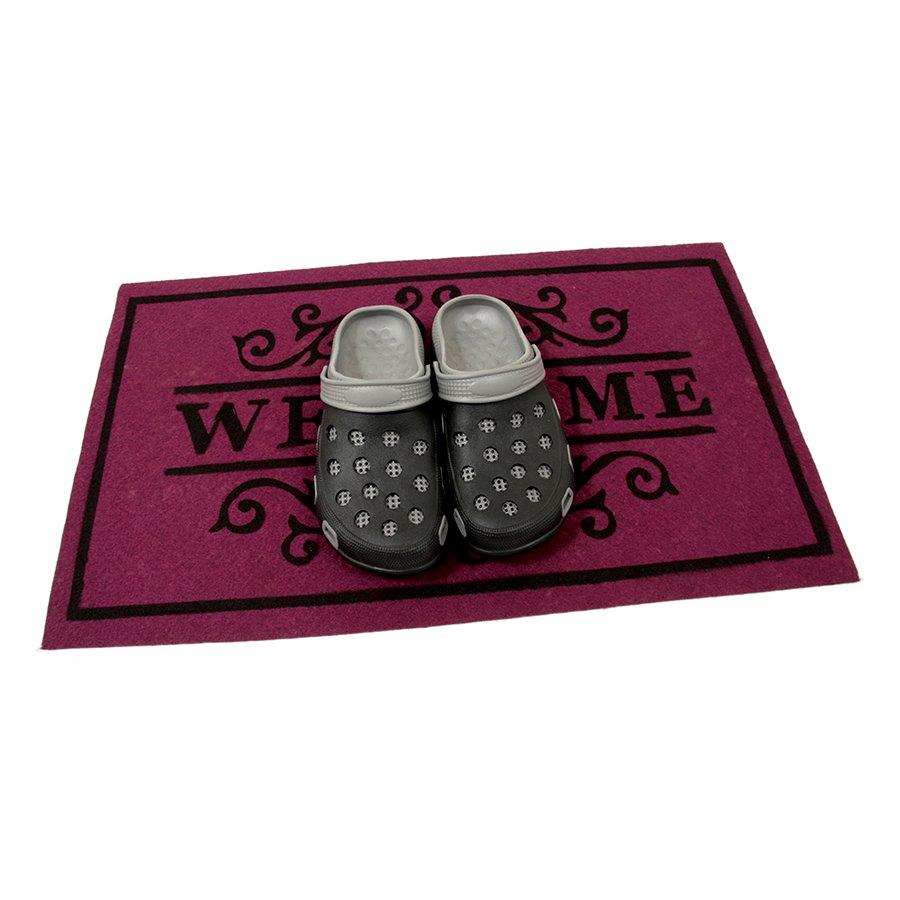 Vínová textilní čistící vnitřní vstupní rohož FLOMA Welcome - Deco - délka 45 cm, šířka 75 cm a výška 0,3 cm