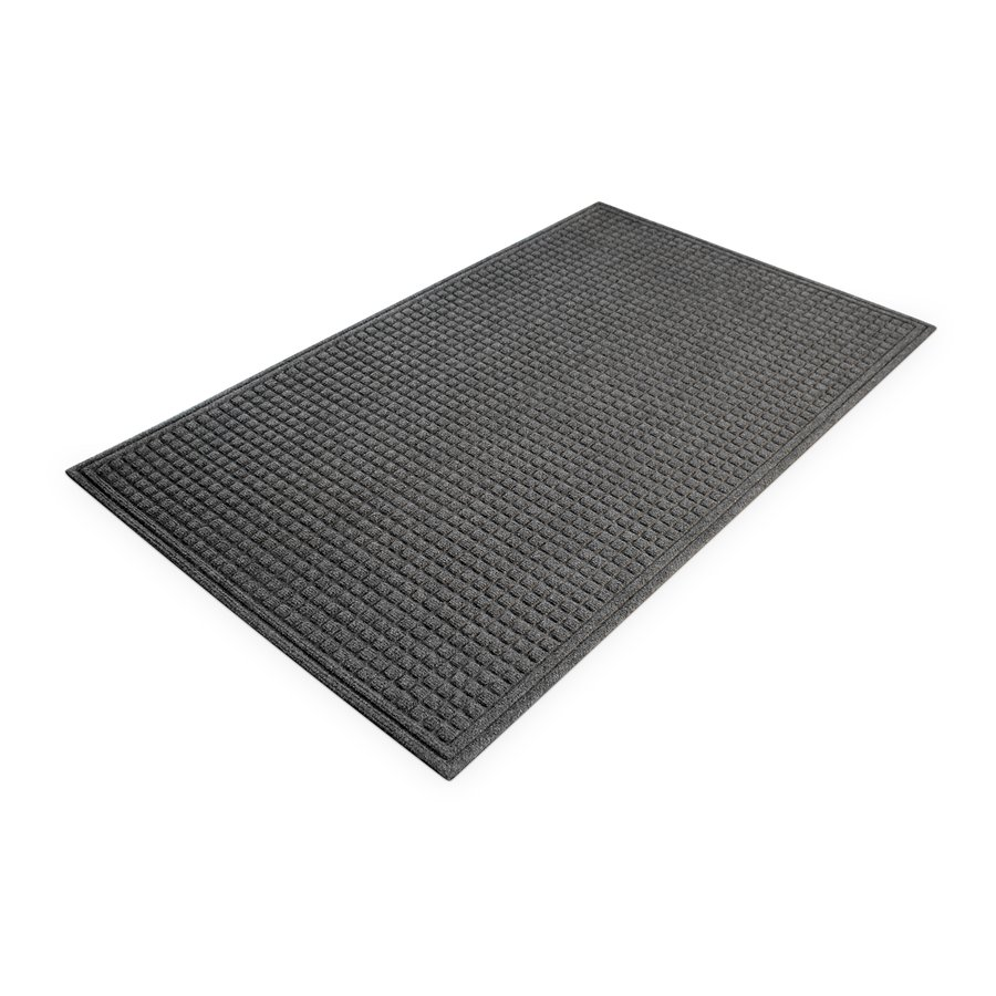 Šedá plastová vnitřní čistící vstupní rohož - délka 90 cm, šířka 150 cm a výška 1 cm