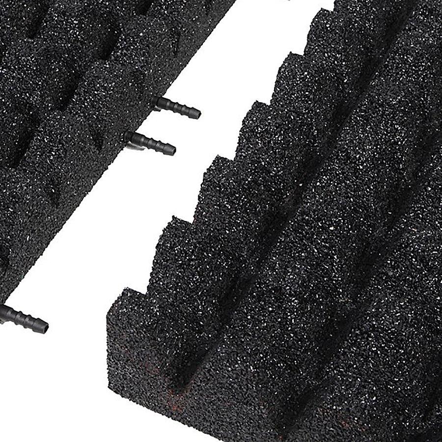 Černá gumová krajová dopadová dlaždice (V80/R50) FLOMA - délka 50 cm, šířka 25 cm a výška 8 cm