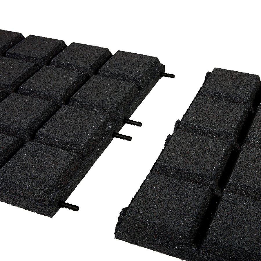 Černá gumová dopadová dlaždice (V50/R25BIG) FLOMA - délka 50 cm, šířka 50 cm a výška 5 cm