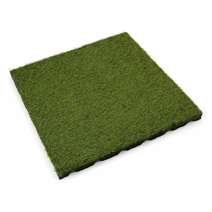 Gumová dlažba (V25/R15) s umělým trávníkem FLOMA - délka 50 cm, šířka 50 cm a výška 2,5 cm