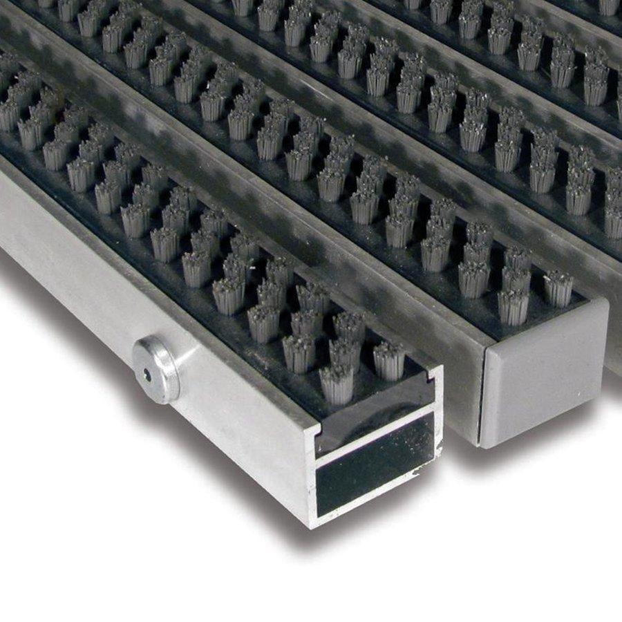 Šedá hliníková kartáčová venkovní vstupní rohož Alu Super, FLOMA - výška 2,7 cm