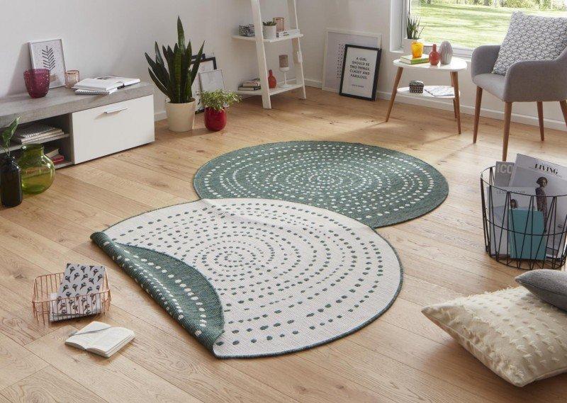 Zelený moderní oboustranný kusový kulatý koberec Twin-Wendeteppiche - průměr 200 cm