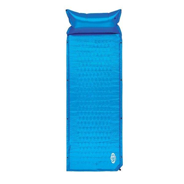 Modrá samonafukovací karimatka s podhlavníkem - délka 186 cm, šířka 65 cm a výška 2,5 cm