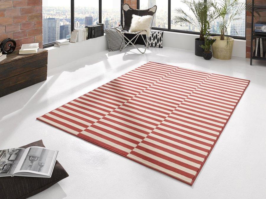 Bílo-červený moderní kusový koberec Gloria - délka 300 cm a šířka 80 cm