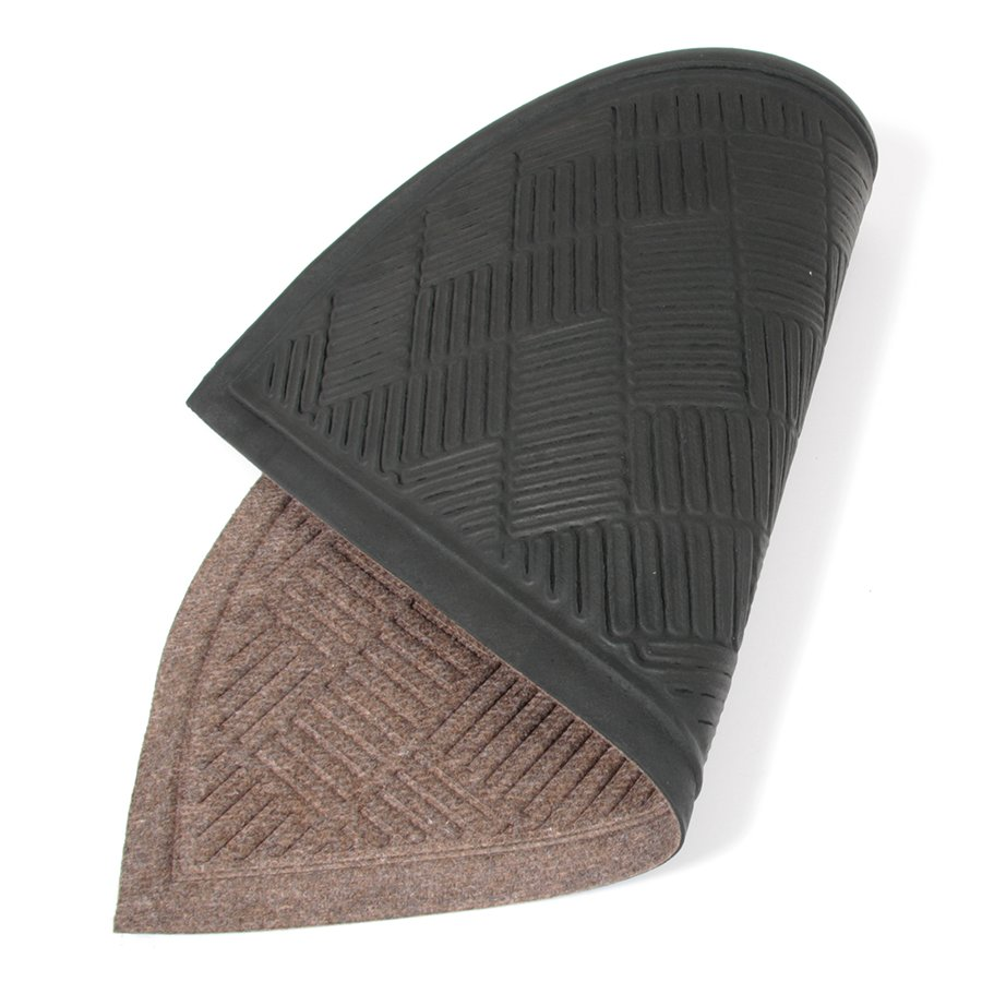 Hnědá textilní vstupní venkovní čistící půlkruhová rohož Crossing Lines, FLOMAT - délka 45 cm, šířka 75 cm a výška 0,8 cm