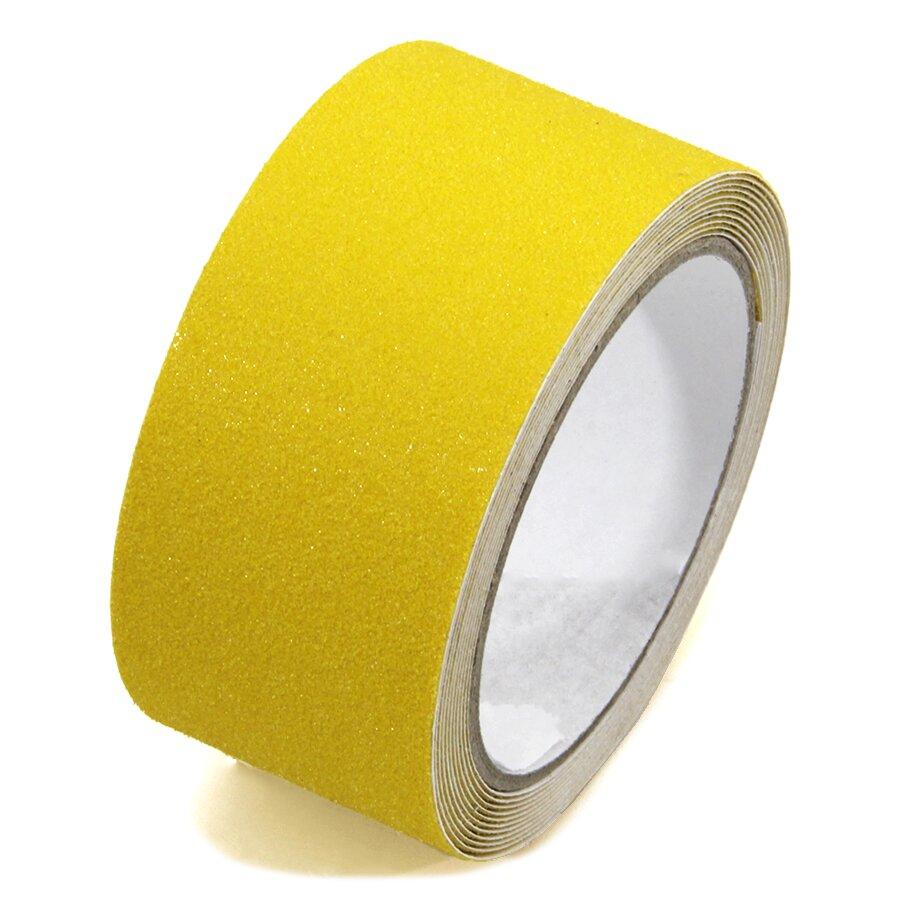 Žlutá korundová protiskluzová páska FLOMA Standard - délka 3 m, šířka 5 cm a tloušťka 0,7 mm