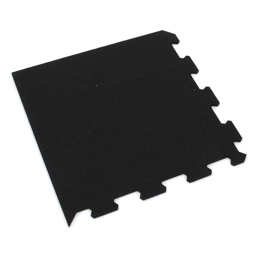 Černá gumová modulová puzzle dlažba (roh) FLOMA FitFlo SF1050 - délka 95,6 cm, šířka 95,6 cm a výška 1,6 cm