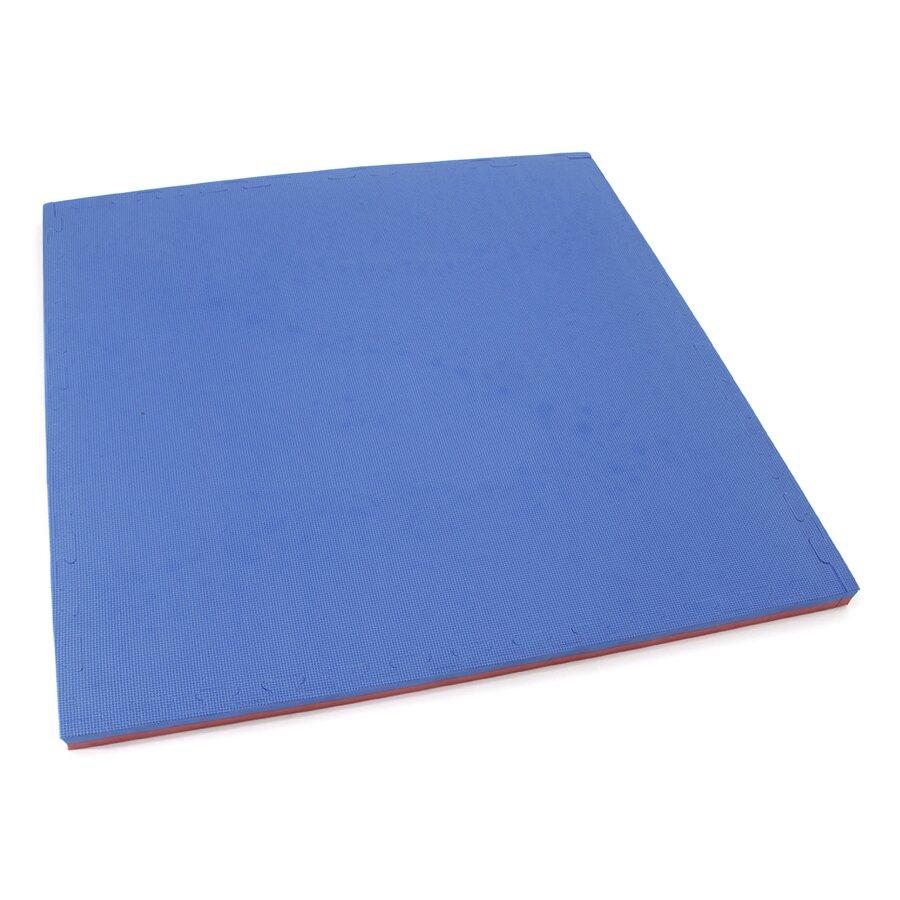 Červeno-modré oboustranné puzzle modulové tatami MASTER - délka 100 cm, šířka 100 cm a výška 4 cm