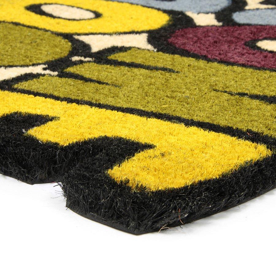 Kokosová čistící venkovní vstupní rohož FLOMA Welcome - Goodbye - délka 45 cm, šířka 75 cm a výška 1,7 cm